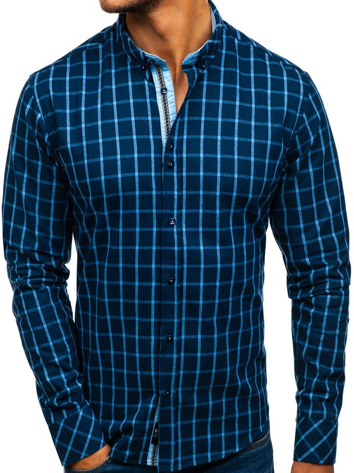 2a65c0799 Camisa a cuadros de manga larga para hombre azul oscuro Bolf 8825