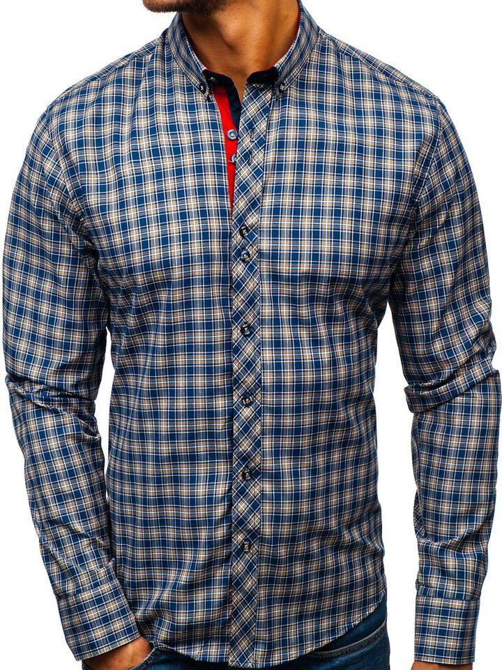 89a851866 Camisa a cuadros de manga larga para hombre azul oscuro y amarilla Bolf 8835