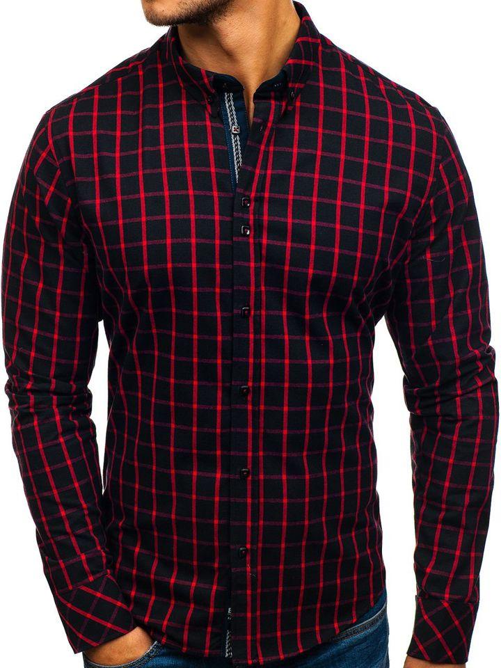 80b4b8f0fef95 Camisa a cuadros de manga larga para hombre negra y roja Bolf 8825 NEGRO Y  ROJO