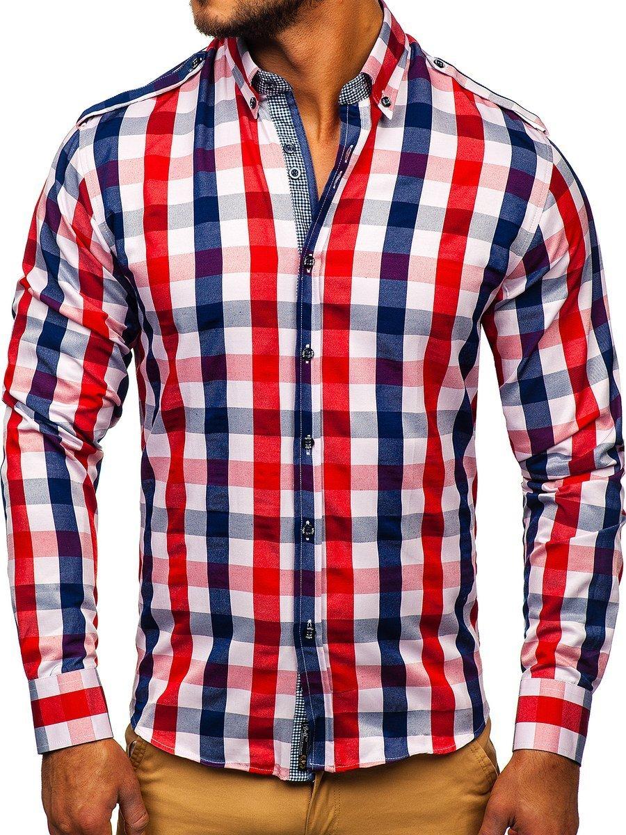 58e996d47 Camisa a cuadros de manga larga para hombre roja Bolf 2779