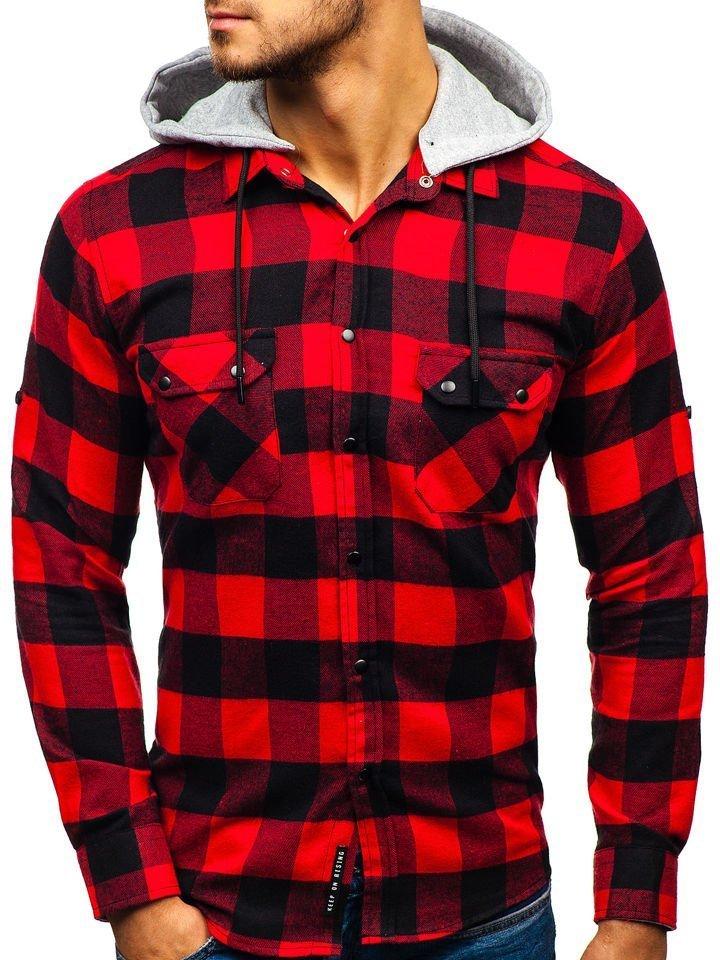 Camisa de flanela de manga larga para hombre negra y roja Bolf 1031 ... b1e329bc457