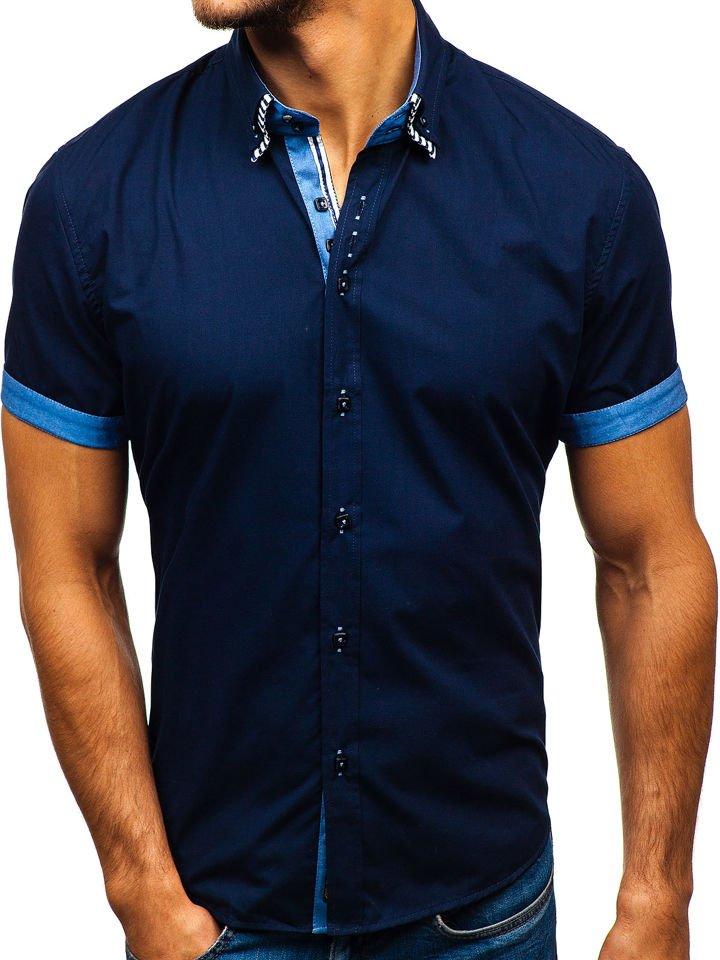 f8c7ce905 Camisa de manga corta para hombre azul oscuro Bolf 2911-1