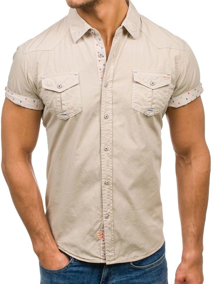 419c047da Camisa de manga corta para hombre beige Bolf 3276 BEIGE
