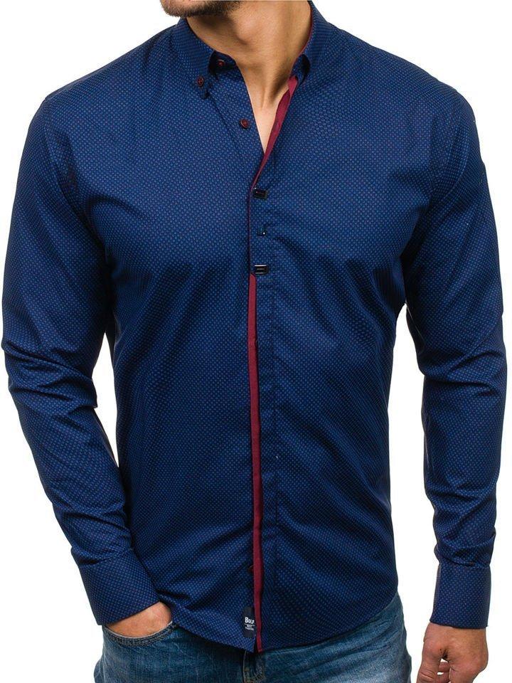 c704cb127 Camisa de manga larga elegante para hombre azul y rojo burdeos Bolf 7718  AZUL Y ROJO BURDEOS