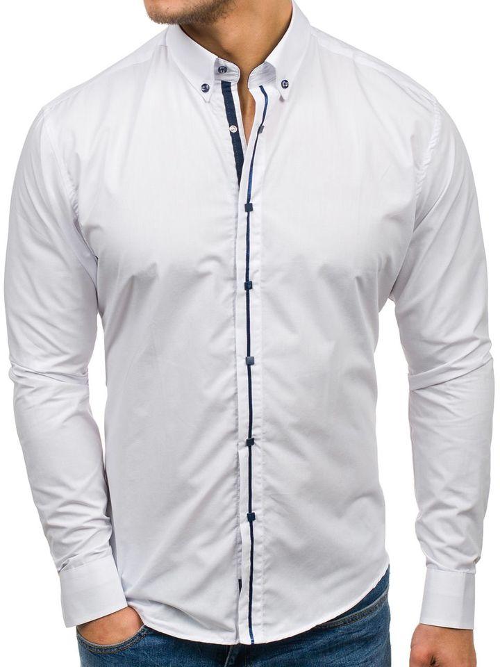 4d65ba21a Camisa de manga larga elegante para hombre blanca Bolf 7726 BLANCO
