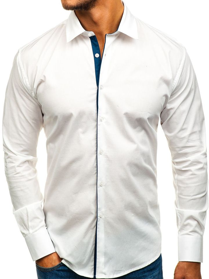 Bocredx Hombre Blanca Para De Manga Larga Elegante Camisa Gm10 6vY7Ibfgym