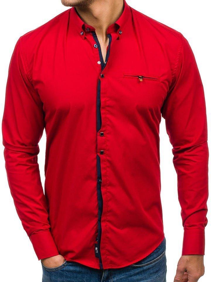 229a66a7cf Camisa de manga larga elegante para hombre roja Bolf 7720 ROJO