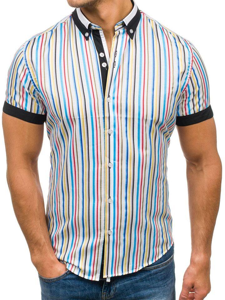 d6c50a285 Camisa de rayas de manga corta para hombre multicolor Bolf 5204B MULTICOLOR