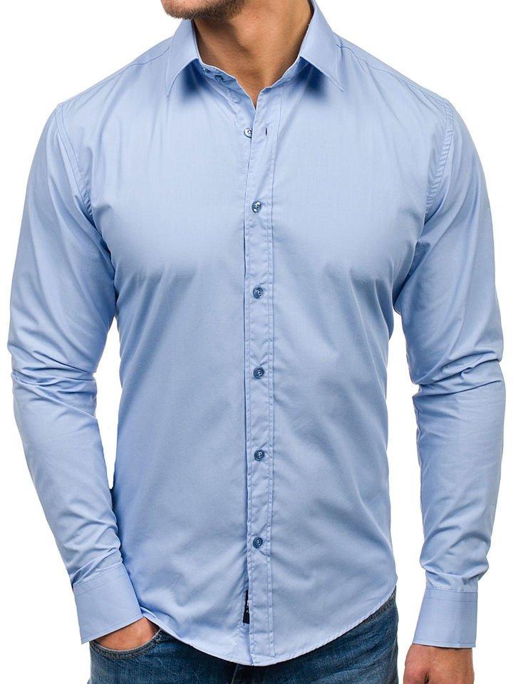 929129bc8 Camisa elegante de manga larga para hombre azul claro Bolf 6928 AZUL CLARO