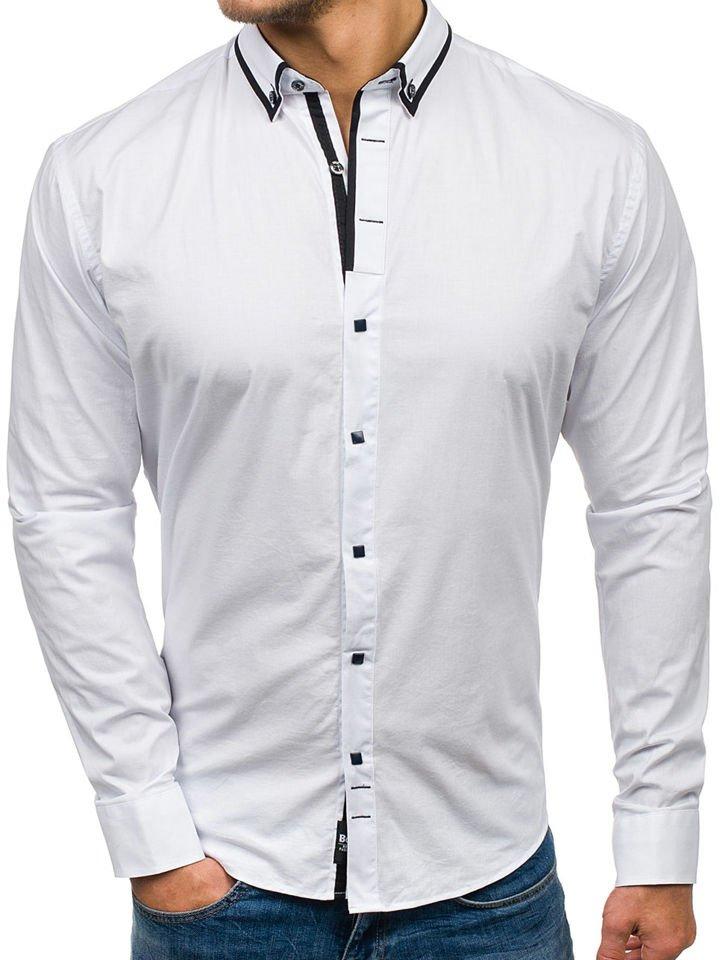 7b646f9f2 Camisa elegante de manga larga para hombre blanca Bolf 7713 BLANCO