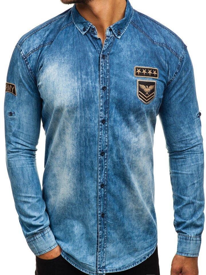 8a1ddbb01 Camisa vaquera de manga larga para hombre azul Bolf 0992 AZUL