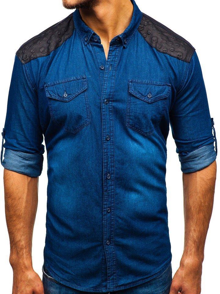 1900649c2 Camisa vaquera estampada de manga larga para hombre azul oscuro Bolf 0517  AZUL OSCURO
