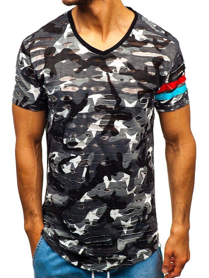 18b757041 Camiseta de manga corta con estampado para hombre camuflaje gris Bolf 309  GRIS
