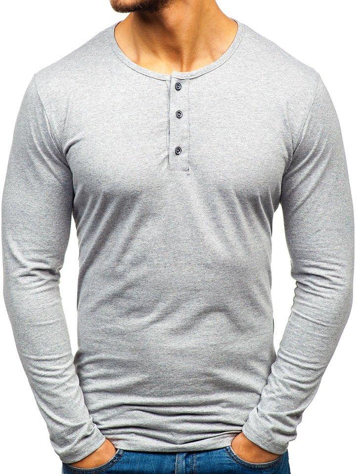 47b17dfda8 Camiseta de manga larga con cuello henley para hombre gris Bolf 1114 GRIS