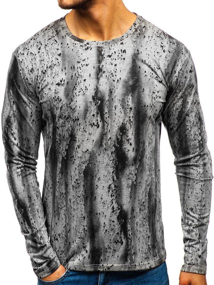 ecfddfe53ef27 Camiseta de manga larga estampada para hombre gris Bolf 2088L-1 GRIS