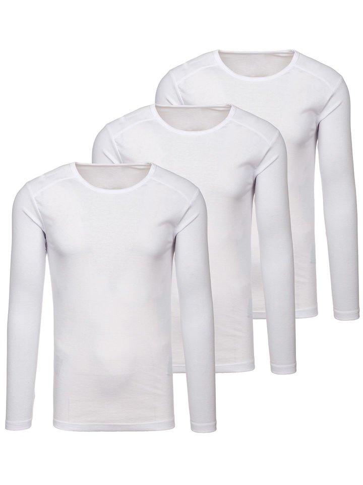 2d3999ee8 Camiseta de manga larga lisa para hombre blanca 3 Pack Bolf C10038-3P