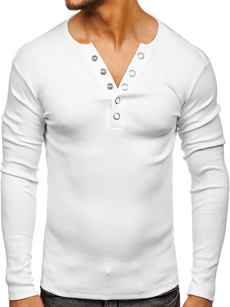 6143ac529aeef Camiseta de manga larga sin estampado para hombre blanca Bolf 145362 BLANCO