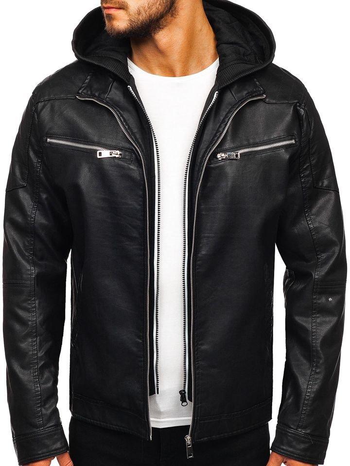 venta outlet nuevo autentico completo en especificaciones Chaqueta de cuero con capucha para hombre negra Bolf 5809