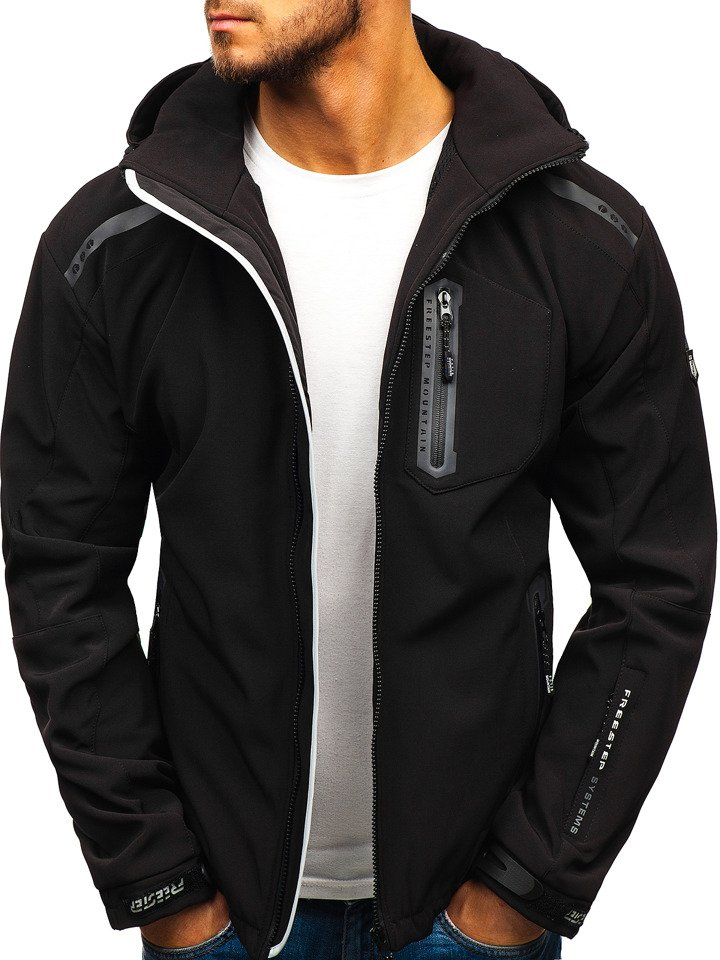 Chaqueta softshell para hombre negra y gris Bolf A5526