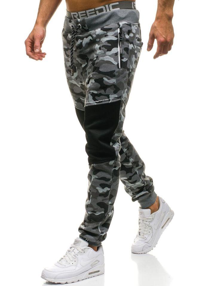 ecbb1821cd Pantalón jogger de chándal para hombre camuflaje gris Bolf QN274 GRIS