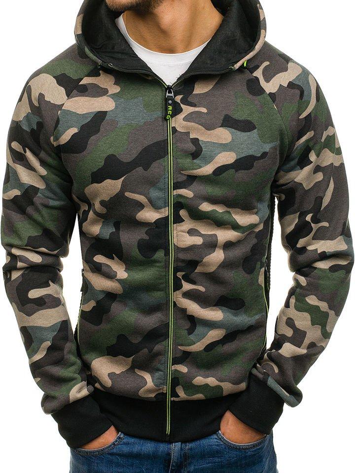 4ab3f0ff1cd63 Sudadera abierta con capucha para hombre camuflaje verde Bolf W1379 VERDE