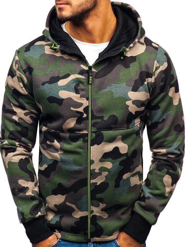 2b1d2ce305a38 Sudadera abierta con capucha para hombre camuflaje verde Bolf W1380 VERDE