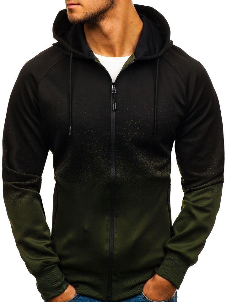 285fa87af8 Sudadera abierta con capucha para hombre verde Bolf HM005 VERDE