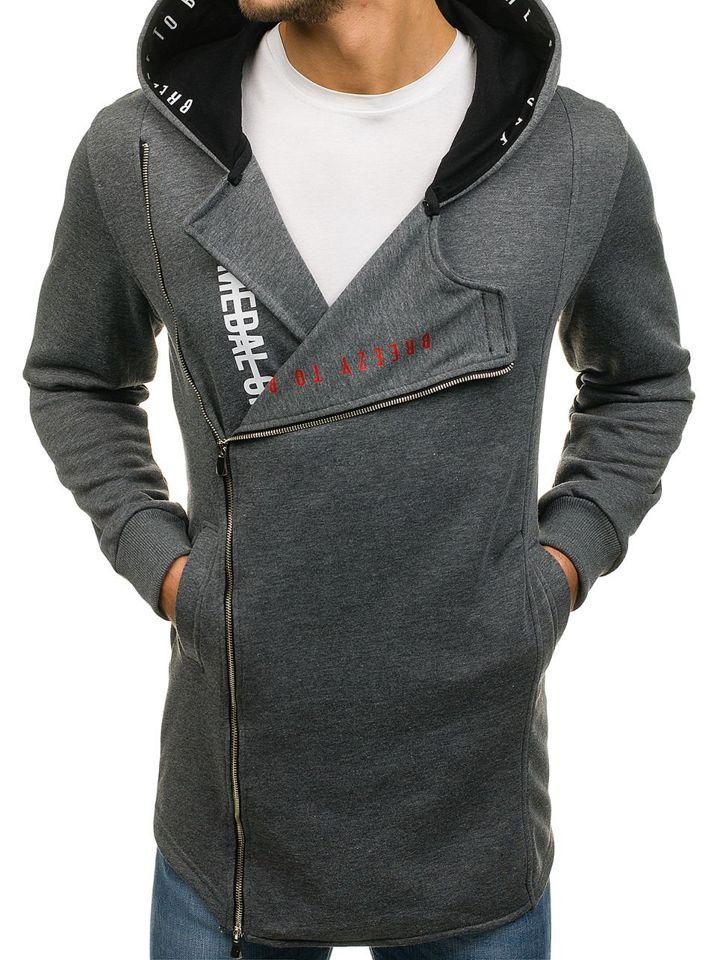 2d449ef229ab Sudadera larga abierta con capucha para hombre gris grafito Bolf 171490 GRIS  GRAFITO