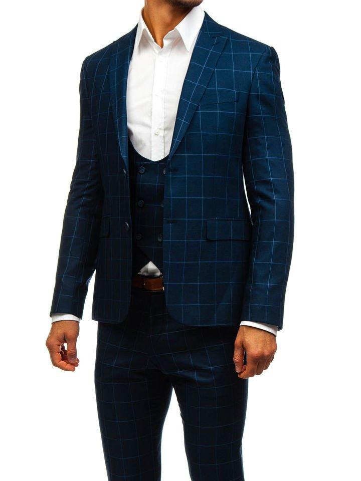 Traje a cuadros con chaleco para hombre azul oscuro Bolf 200K AZUL ... 52e4905c4f2
