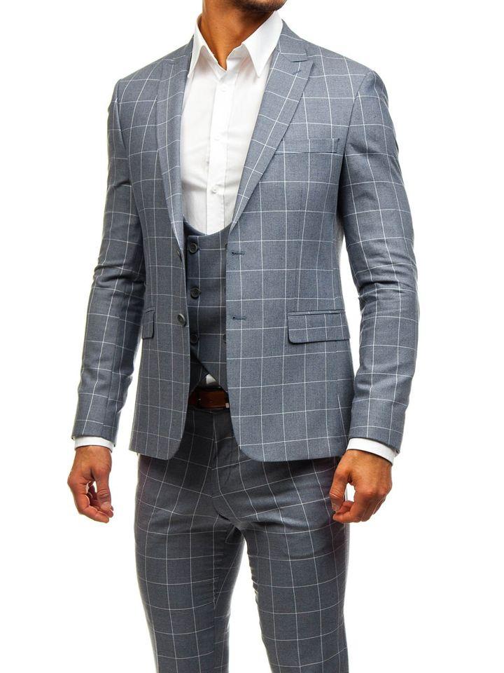 Traje a cuadros con chaleco para hombre gris Bolf 200K GRIS 0926553cd8e