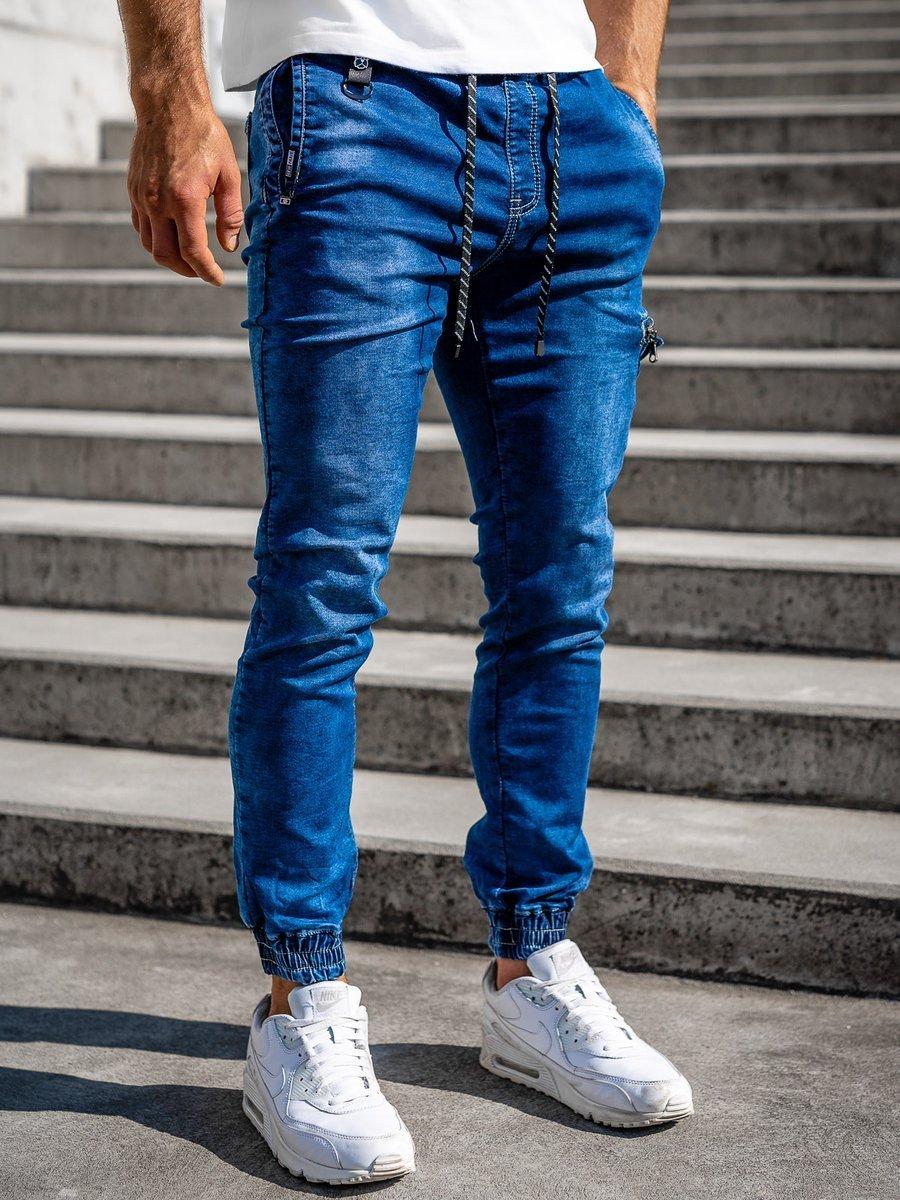 Pantalon Jogger De Mezclilla Azul Oscuro Para Hombre Bolf Ka816