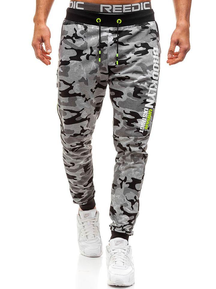 15e16932e ... Pantalón de chándal jogger para hombre camuflaje gris Bolf KK513 ...