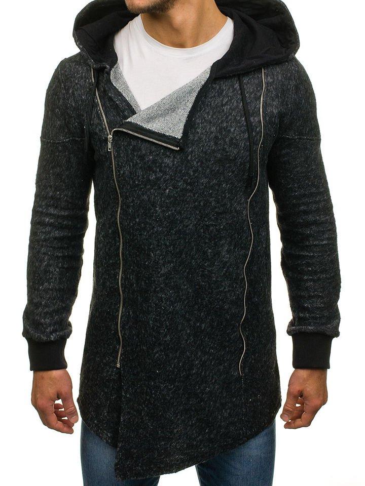 Sudadera larga abierta con capucha para hombre negra Bolf 171693