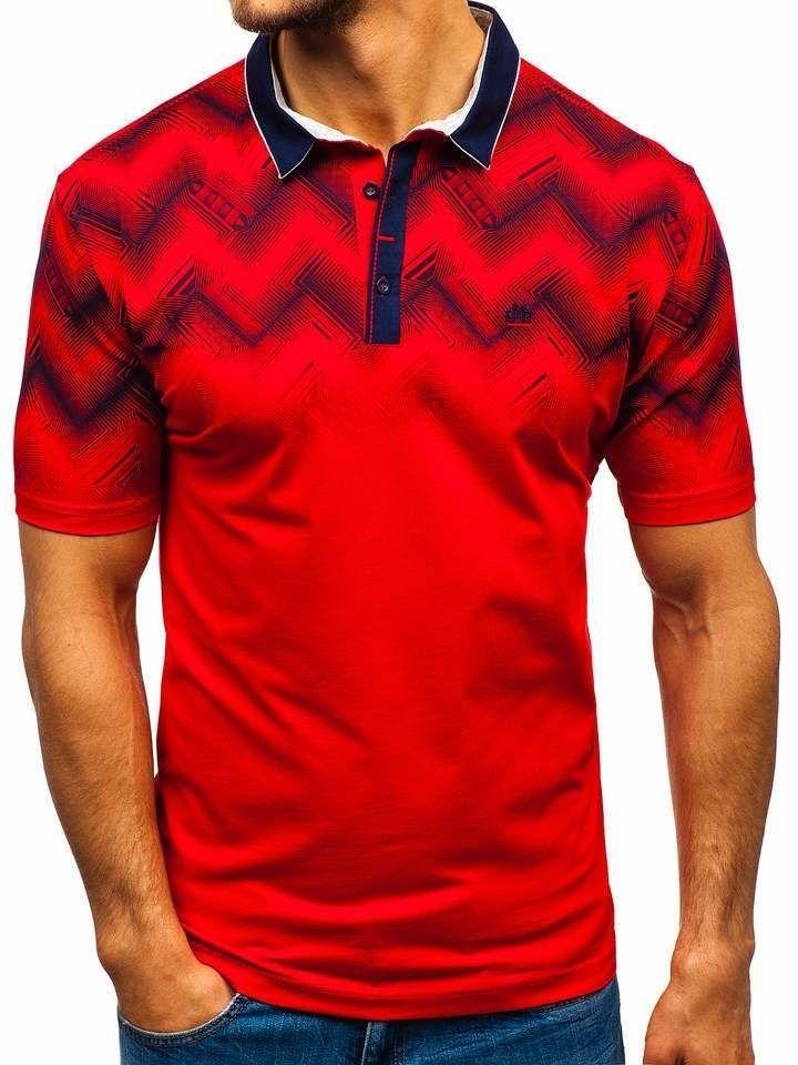 Camiseta polo para hombre roja Bolf 6601