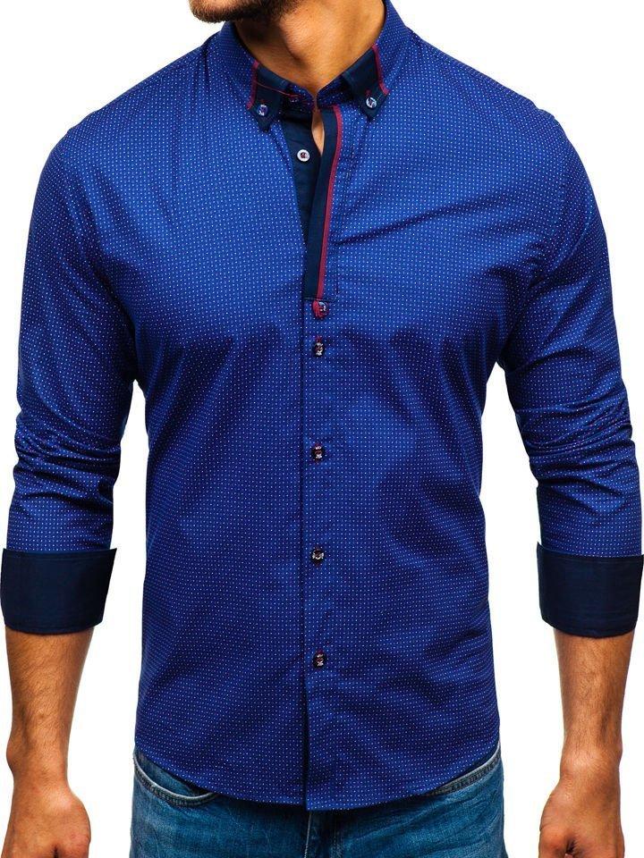 Camisa estampada de manga larga para hombre indigo Bolf 8844C