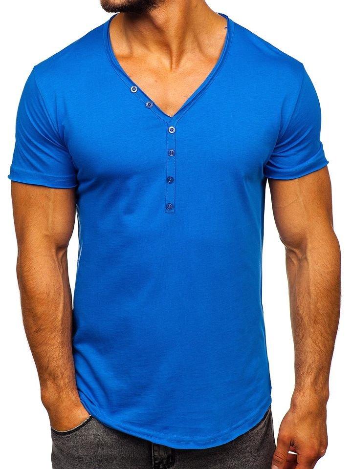 Camiseta de manga corta sin estampado para hombre azul Bolf 4049