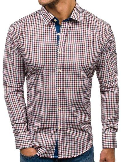 b4aff885c Camisa de manga larga a cuadros para hombre azul oscuro y rojo Bolf GET6