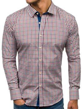 Camisa de manga larga a cuadros para hombre azul oscuro y rojo Bolf GET6 1bfdf44e8db36