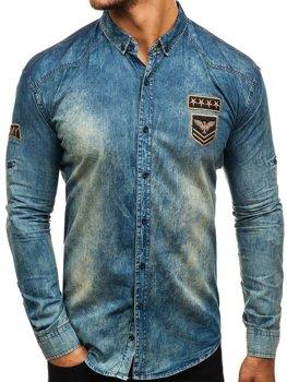 820ba1f59f Camisa vaquera de manga larga para hombre azul oscuro y gris Bolf 0992
