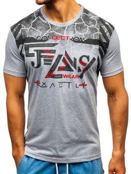 Camiseta estampada de manga corta para hombre gris Bolf 14227 587f1eaca87