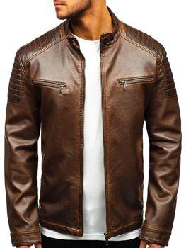 a89d5960c5b Chaqueta de cuero para hombre marrón Bolf EX802