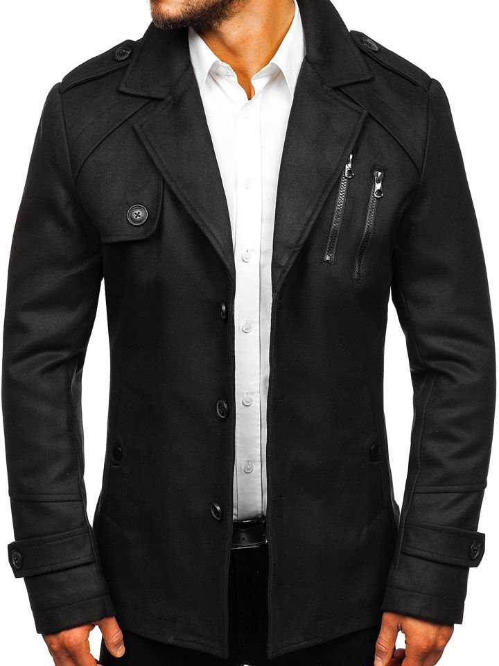 en venta 07b07 cf09b Abrigo de invierno para hombre negro Bolf 3135