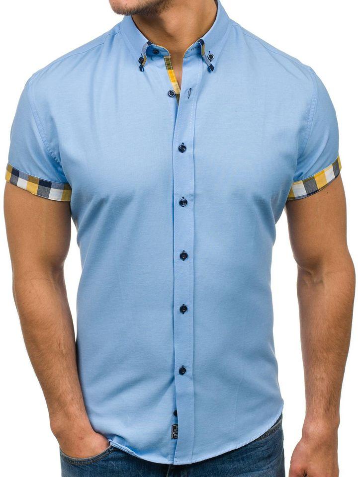 Camisa de manga corta elegante para hombre azul claro Bolf 5200 AZUL ... 21af2c326e11c