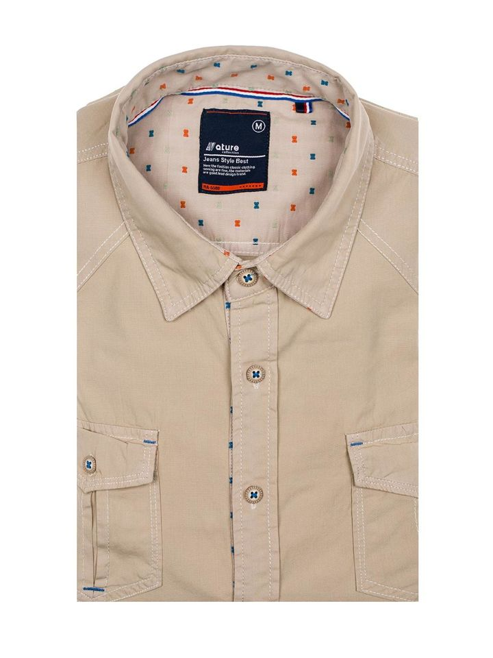 9612ae8d4 ... Camisa de manga corta para hombre beige Bolf 3276 ...