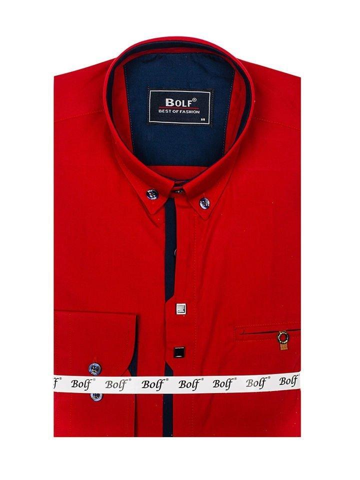 683574f66 ... Camisa de manga larga elegante para hombre roja Bolf 7720 ...