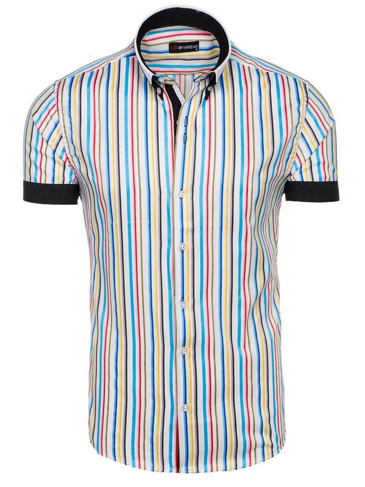 60% barato fina artesanía original de costura caliente Camisa de rayas de manga corta para hombre multicolor Bolf 5204B