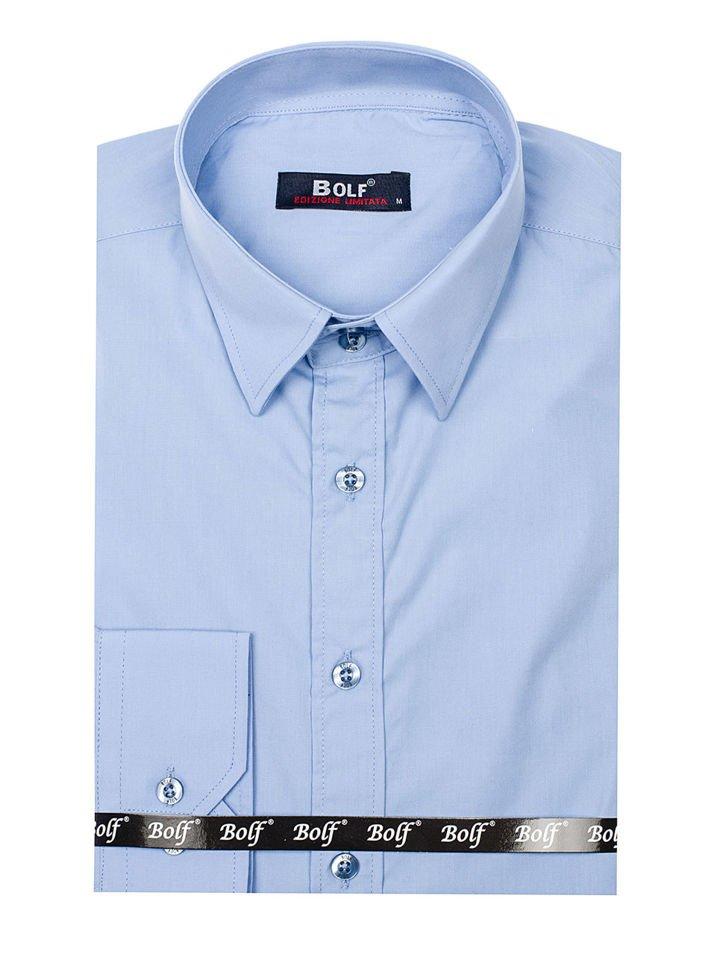 a4ab29638 Camisa elegante de manga larga para hombre azul claro Bolf 6928 AZUL ...