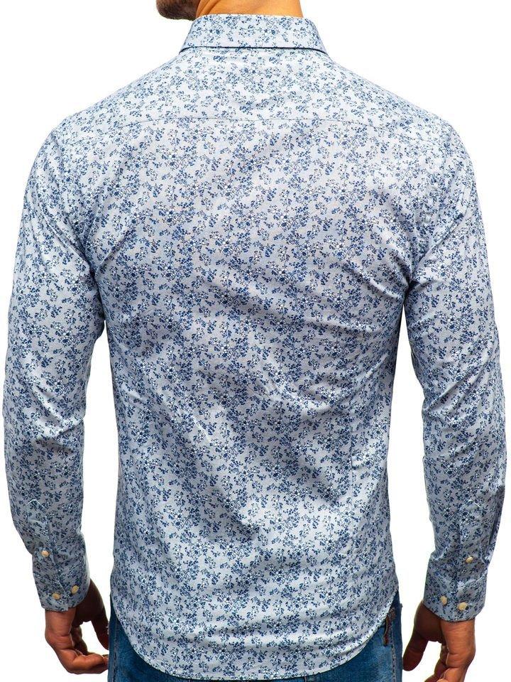 853e8a154a Camisa estampada de manga larga para hombre blanca y azul oscuro 301G58