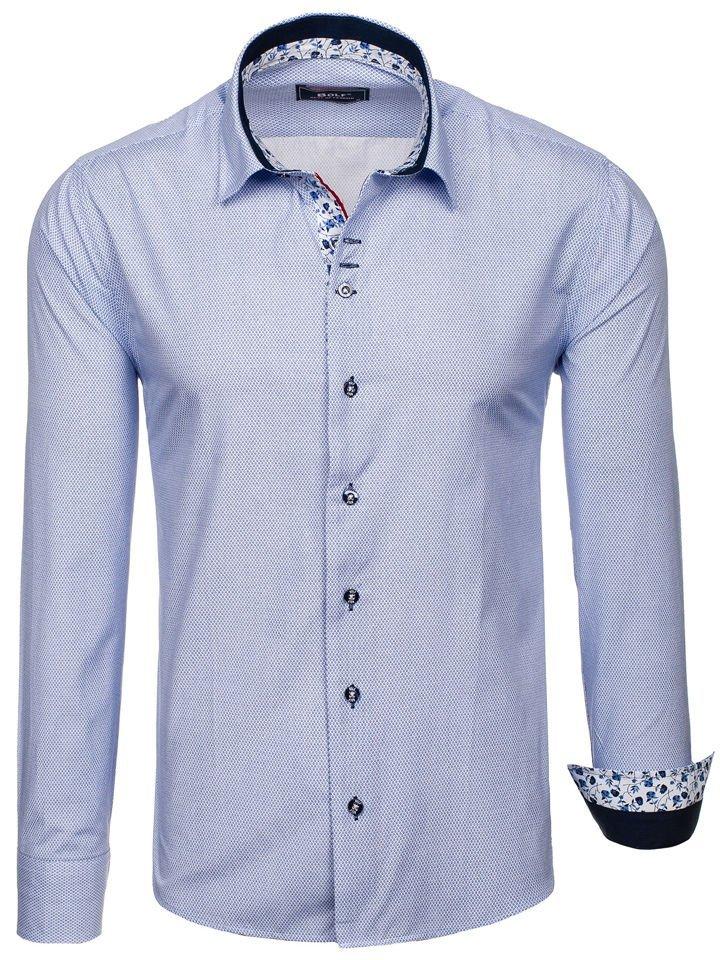 e54f1e1b96 Camisa estampada de manga larga para hombre blanca y azul oscuro Bolf 9704
