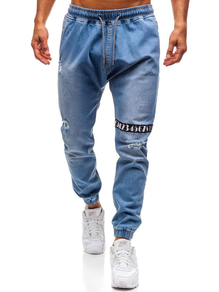 Pantalon Jogger Vaquero Para Hombre Azul Claro Bolf 2031 Jasny Niebieski
